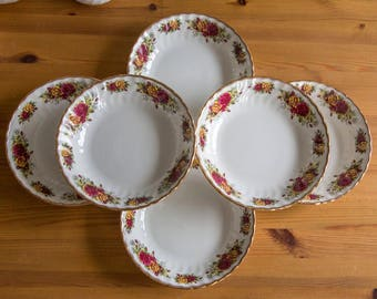 Set of 6 vintage soup bowls with roses and gilding, H. Aynsley