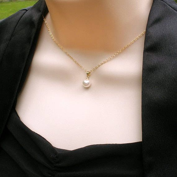 Simple Pearl Necklace Pearl Drop Necklace Drop Pearl Gold