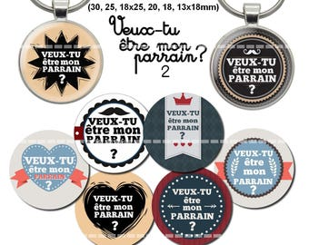 72 digital images for cabochons will you be my godfather 2 (18, 25 and 30 x 25, 20, 18, 13x18mm)