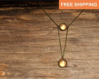 Moon glow necklace, statement necklace, silver or brass necklace, moon necklace, moon glow necklace, antique brass necklace, silver necklace