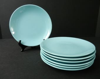 """Set of 7 Mid Century Temporama Bread and Butter Plates, Solid Blue, Canonsburg Pottery, Small 6 1/2"""" Plates, Retro Atomic Dinnerware"""