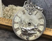 Antique Steampunk sparrow - Steampunk necklace- pocket watch dial Handcrafted artistic jewelry -The Victorian Magpie