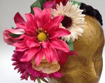 Side floral headband. Mexican style headband. Mexican fiesta headband. Frida Kahlo headband. Day of the Dead headband. Mexican Wedding