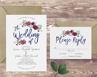 The Floral Watercolor Wedding Invitation and RSVP Set, Navy Wedding Invitation, Watercolor Wedding Invite, Customized Navy Wedding Invite