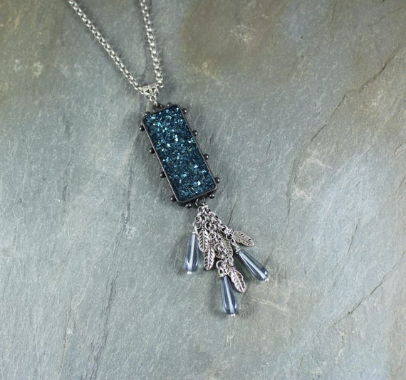 Bohemian Chic ~ Rustic Romantic ~ Blue Sparkle pendant necklace