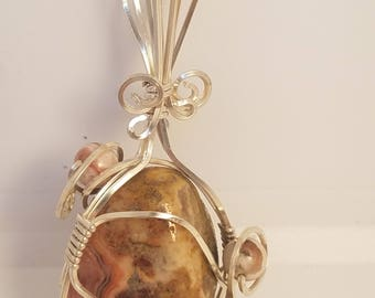 Sterling Silver, Crazy lace Agate pendant, handmade pendant, OOAK