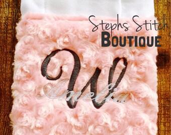 Pink Rossette Minky Premium Burp Cloth