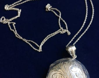 Vintage Sterling Round Large Locket Long Necklace