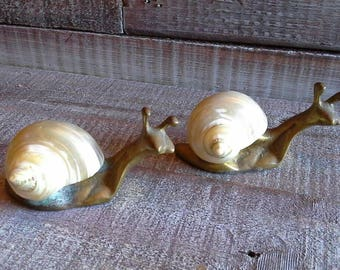 "2 Vintage Brass Snails with Real Shell ""shells"" Figurines"
