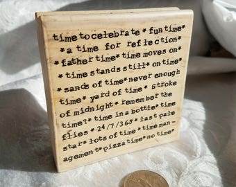 Time Background Rubber Stamp by STampassions, Background Stamp, Time Word Stamp, Time Quotes, Sentiment Stamp, Phrase STamp Art Journal Card