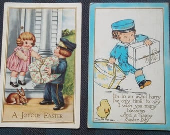 Easter 6 Postcards Hatboxes Hatbox Embosses Rabbits Chicks 100 Years old