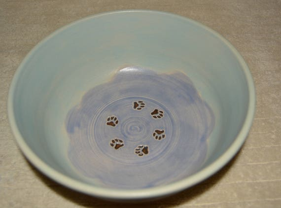 Pet Bowl, Dog Bowl, Water Bowl, Cat Bowl, Pet Food Bowl, Paw Prints, Pastel Blue, Pastel Purple, Stoneware, Ceramic Bowl,