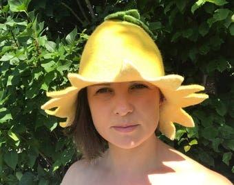 Yellow felted sauna hat merino wool handmade sauna cap