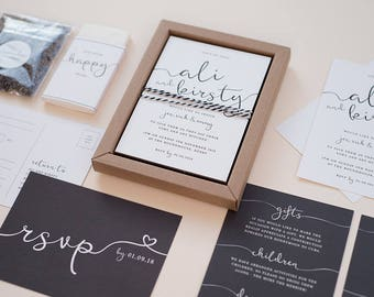 SAMPLE - Monochrome Boxed Wedding Invitation. Black and White Wedding Stationery. Simple Design. Personalised.