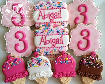 Here's the Scoop Ice Cream Social Birthday First Birthday Cookies