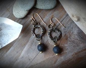 Lava Rock Dangle Earrings, Bronze Elements, Gold plated wires.  Pierced Ears.