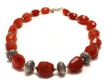 925 sterling silver necklace in faceted carnelian