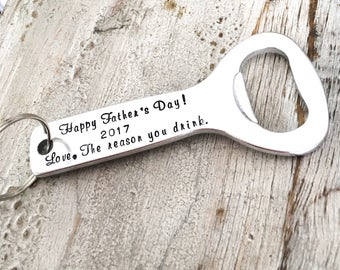 Fathers Day Gift for Dad - Personalized Beer Bottle Opener - Beer Drinking Dad Gift - Fathers Day Gift from Kids - Beer Opener Key Chain