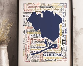 Queens Typography Map Art Print, Queens Poster Print, Queens neighborhood map print, Queens New York Art, Choose your color and size