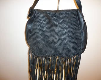Beautiful Black Leather Fringe Shoulder/Crossbody Bag