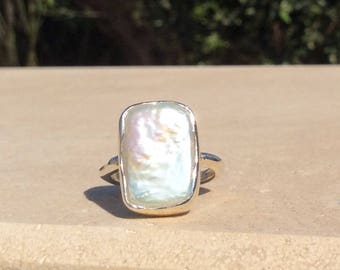 Pearl Silver Ring, US 6, Large Pearl Stone Ring, June Birthstone Silver Ring, Freshwater Pearl Boho Silver Ring