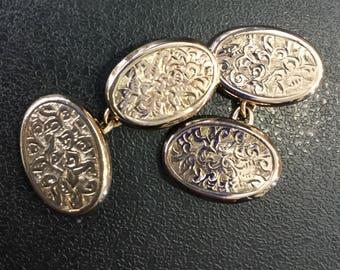 9ct rose gold cufflinks ,hand engraved ,Hallmarked