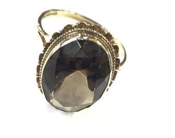 9ct gold smoky quartz ring