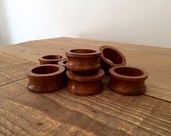 Set of 8 Vintage Turned Wood Napkin Rings