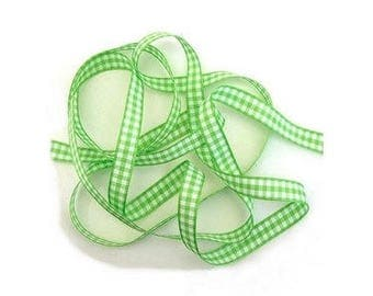 Green and white gingham Ribbon 10 mm polyester