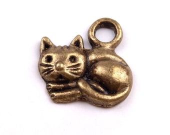 4 Charm cat charm, double-sided bronze