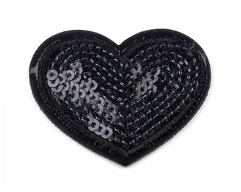 Heart 5 cm black sequins fusible appliqué