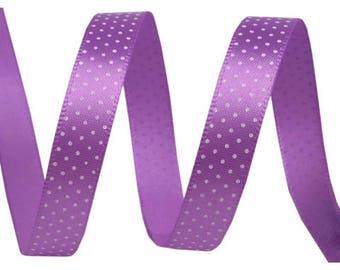 3 M mauve Purple Ribbon with white polka dots, 10 mm wide