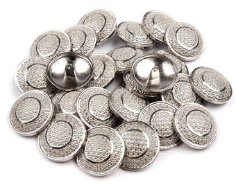 5 buttons 25 mm silver metal engraved arabesques