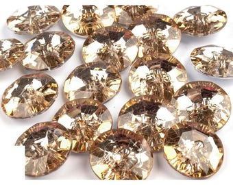 5 buttons 25 mm amber Crystal yellow gold