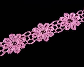 Guipure lace flowers pink lace point Venetian 20 mm