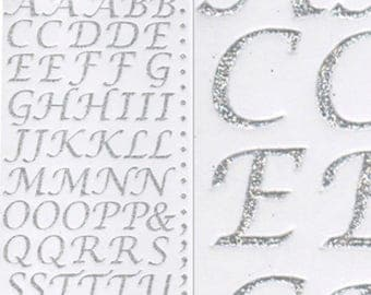 55 italic letters glitter stickers