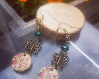 Antique Style.Butterfly & Wooden Floral Drop Earrings