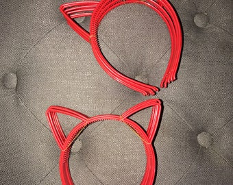 Set of 10 Red Plastic Cat Ear Headbands Cat Ears Birthday Party Favors Kitty Cat Ears Cat Hair Bands Fits Kids or Adults Ready to Ship