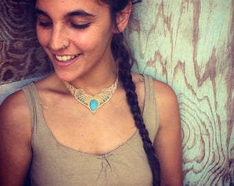 Macrame necklace Aquamarine necklace,Choker  tribal Macrame Necklace TRIBAL bohemian Gipsy, primitive style