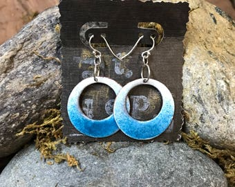 Wide hoop dangle earrings - (you pick color combination) - copper with enamel fusion - set in sterling silver