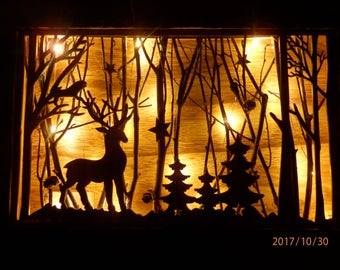 Magical light up wooden stag forest scene
