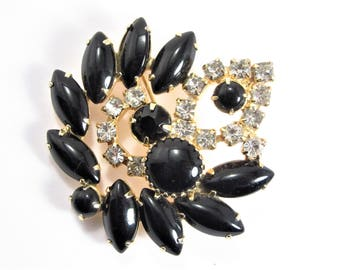 Confirmed Juliana Black Rhinestone Brooch Vintage 60s