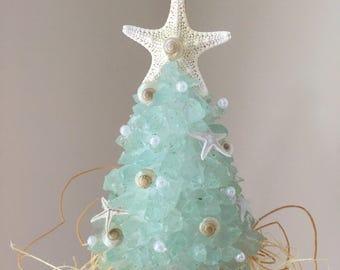 "HandmadE SMALL  AQUA SEAGLASS 4"" Coastal  Christmas Tree with Starfish"