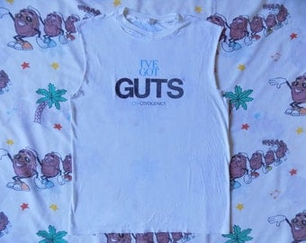Vintage 80's I've Got Guts Cryogenics cut off sleeve Muscle T shirt, size Medium threadbare Thrashed