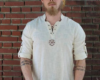 ON SALE Viking Shirt, Norse Shirt, Viking Shield, Pagan, Ozora, Boom, Viking man, Ragnar, Re-enactment, Earthy, Celtic.
