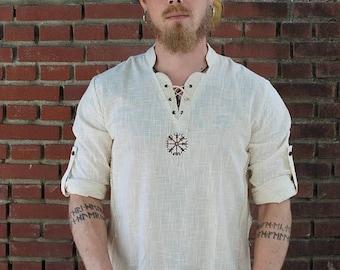ON SALE Viking Shirt, Norse Shirt, Viking Shield, Pagan, Ozora, Boom, Viking man, Ragnar, Re-enactment, Earthy, Celtic.