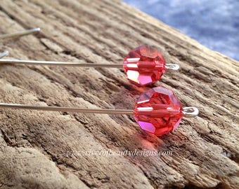 Long Drop Earrings with Dark Pink Swarovski Crystals and Tarnish-Resistant Argentium Sterling Silver