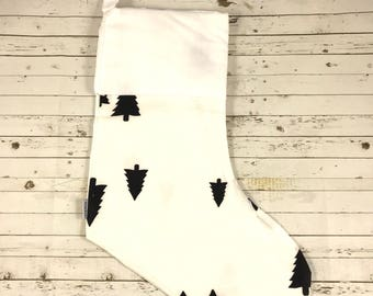 Handmade high quality Christmas Stocking | HTV Blank | DIY stocking | Embroidery Blank | monochrome black trees | Ready To Personalise | des
