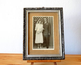 Wedding Couple Portrait, Antique Framed Portrait, Old Framed Photo, Wedding Photograph, Couple Portrait, Framed Portrait, Framed Photography