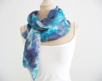 Hand Colored, Foulard, Turquoise blue scarf, Long silk scarf, Hand painted silk scarf, One of a kind, Abstract silk scarves, Accessories